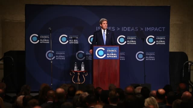 S Secretary of State John Kerry delivers a speech at a Chicago Council on Global Affairs event on 'American Leadership in an Era of Opportunity and...