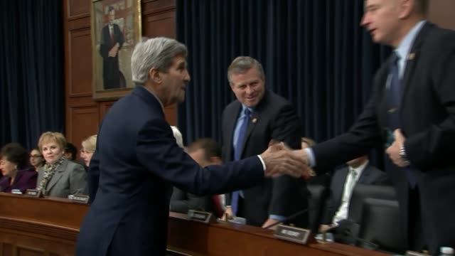 Secretary of State John Kerry enters a committee room for a hearing with a subcommittee of the House appropriations committee to discuss the fiscal...