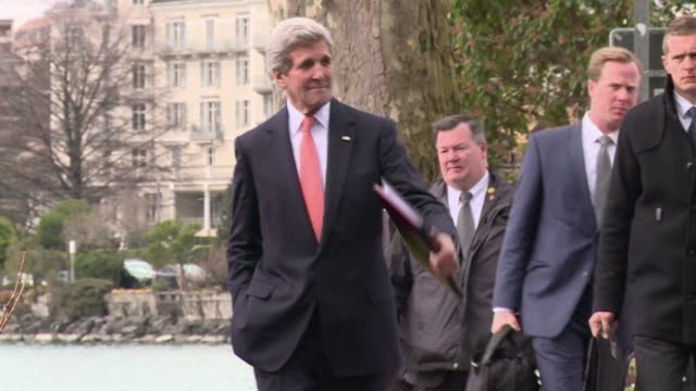 us secretary of state john kerry left montreux in switzerland on wednesday after three days of discussion with his iranian counterpart - montreux stock videos and b-roll footage