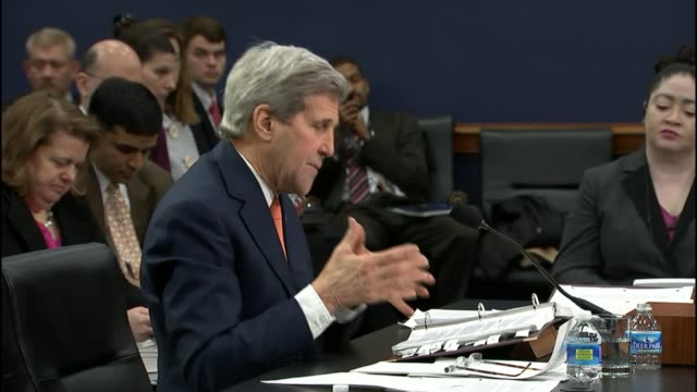 secretary of state john kerry says at a house budget hearing for fiscal 2017 that there are sunni who are moderate and capable of assisting in a... - inning stock videos & royalty-free footage