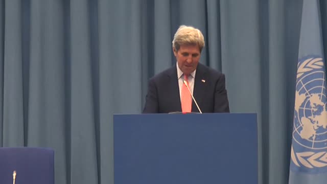 Secretary of State John Kerry speaks during international climate change conference at UN office in Vienna Austria on July 22 2016 Footage by Mehmet...