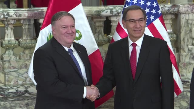 us secretary of state meets with peru president martin vizcarra and foreign minister nestor popolizio in lima as he begins the third leg of a four... - foreign minister stock videos and b-roll footage