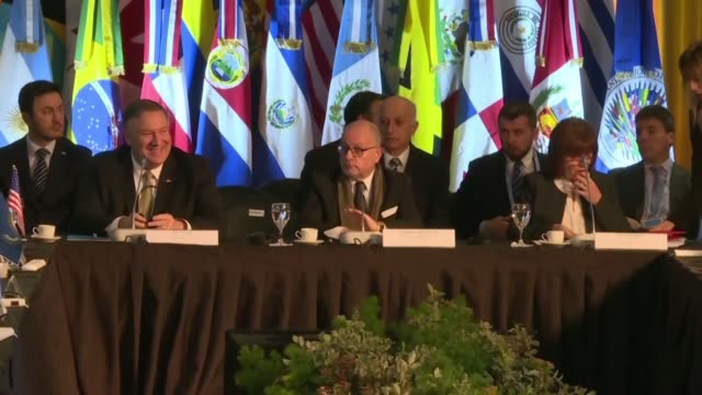 us secretary of state mike pompeo arrives at a counterterrosim conference in buenos aires commemorating the 25th anniversary of the argentine... - israelite stock videos & royalty-free footage