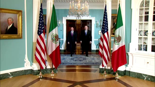 Secretary of State Mike Pompeo camera spray with Mexican Foreign Secretary Luis Videgaray Caso at the Department of State June 5 2018 Courtesy DoD