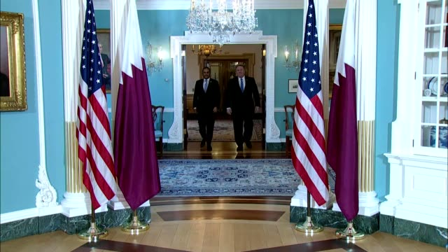 secretary of state mike pompeo camera spray with qatari foreign minister sheikh mohammed bin abdulrahman al thani at the department of state courtesy... - government minister stock videos & royalty-free footage