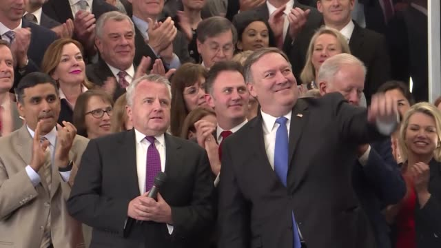 S Secretary of State Mike Pompeo delivers remarks during a welcome ceremony with is wife Susan Pompeo in the lobby of the Harry S Truman Building May...