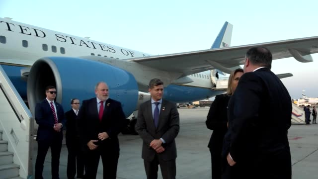 US Secretary of State Mike Pompeo departs Ben Gurion Airport after his first visit to Israel April 29 2018 Audio removed Image courtesy Ziv...