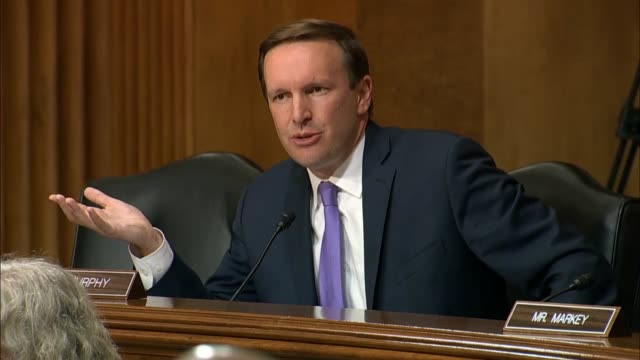 stockvideo's en b-roll-footage met secretary of state mike pompeo explains a catalog of activities to connecticut senator chris murphy at a senate foreign relations committee hearing... - presidentsverkiezing