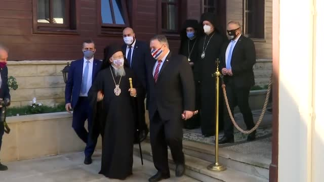 secretary of state mike pompeo leaves the fener greek orthodox patriarchate after a meeting with fener greek patriarch bartholomew i on november 17,... - georgia us state stock videos & royalty-free footage