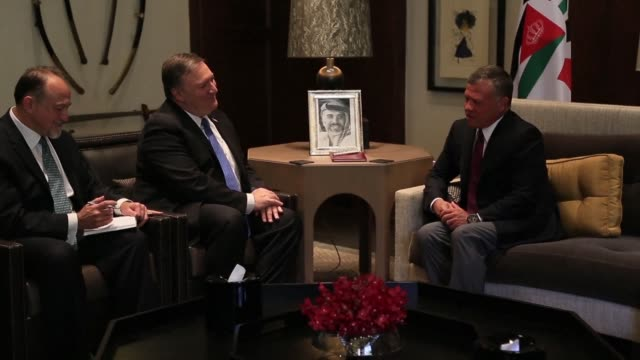 US Secretary of State Mike Pompeo meets King Abdallah II of Jordan after holding a press conference with his Jordanian counterpart Ayman Safadi