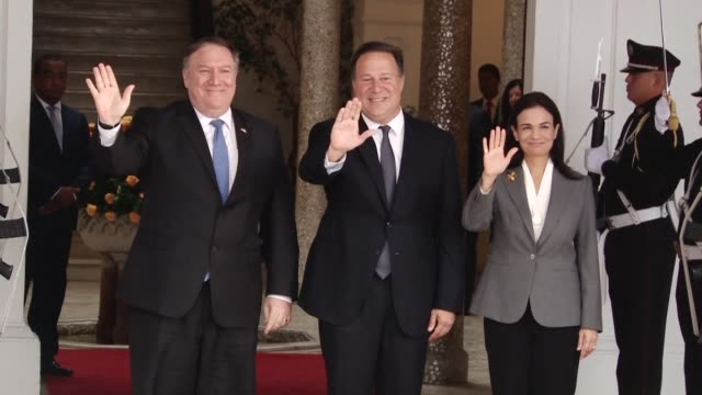 US Secretary of State Mike Pompeo meets Panama's President Juan Carlos Varela and Panama's Vice President and Foreign Minister Isabel Saint Malo as...