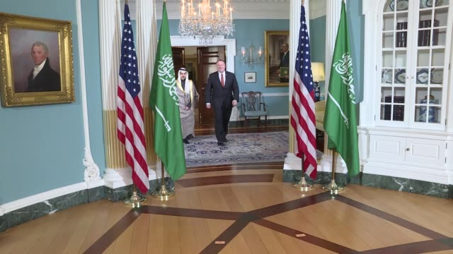 s secretary of state mike pompeo meets saudi foreign minister faisal bin farhan al saud at the state department february 12 2020 in washington united... - saudi arabia stock videos & royalty-free footage
