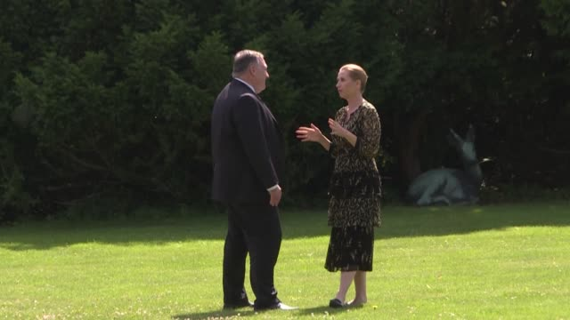 us secretary of state mike pompeo meets the danish prime minister and foreign minister and discusses rival interests in the arctic during an official... - öresundregion stock-videos und b-roll-filmmaterial