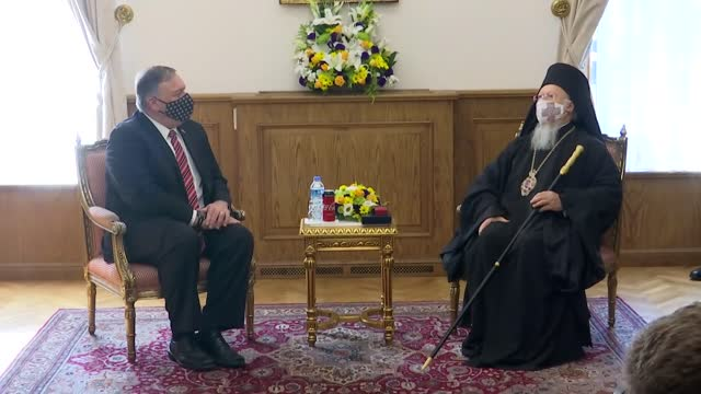 secretary of state mike pompeo meets with fener greek patriarch bartholomew i at the fener greek orthodox patriarchate in istanbul, turkey on... - georgia us state stock videos & royalty-free footage