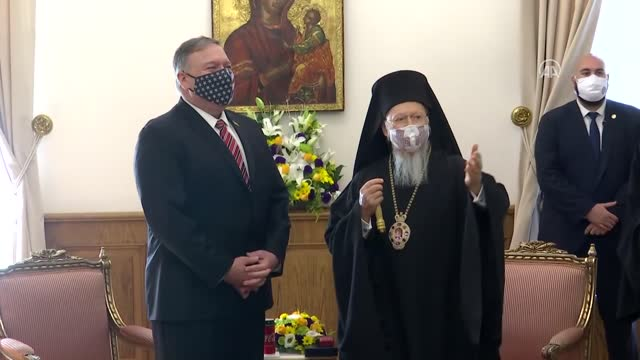 secretary of state mike pompeo meets with fener greek patriarch bartholomew i at the fener greek orthodox patriarchate in istanbul turkey on november... - georgia us state stock videos & royalty-free footage