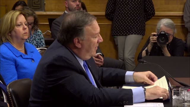 Secretary of State Mike Pompeo reads an opening statement to the Senate Foreign Relations Committee and answers opening questions from New Jersey...