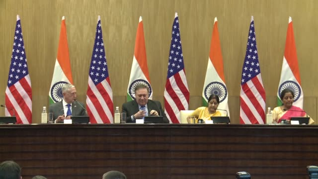 US Secretary of State Mike Pompeo US Defence Secretary Jim Mattis and his Indian counterpart Nirmala Sitharaman announce that the US and Indian...