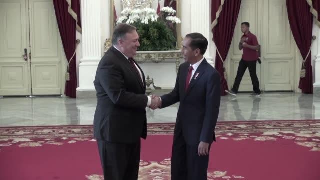 US Secretary of State Mike Pompeo visits Indonesian President Joko Widodo at the Merdeka Palace in Jakarta