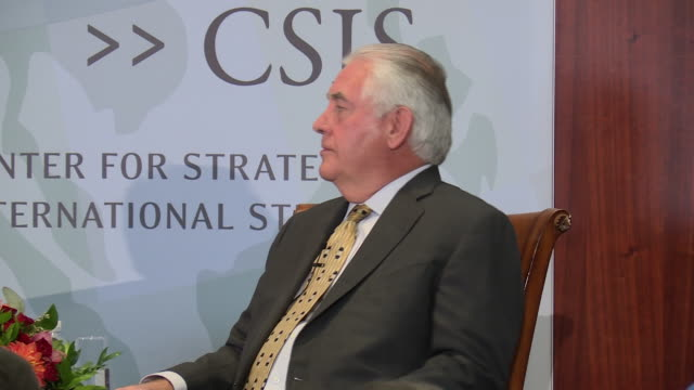 US Secretary of State Rex Tillerson fields questions via moderator after outlining a vision for ties between Washington and New Delhi Refers to...