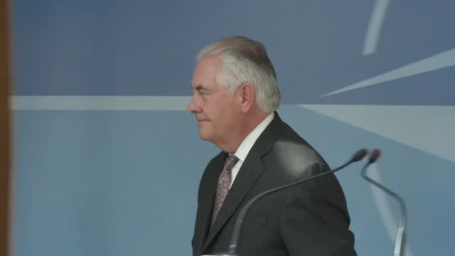 secretary of state rex tillerson makes visit to brussels to push president donald trump's demand for nato allies to boost defence spending - pushing stock videos & royalty-free footage