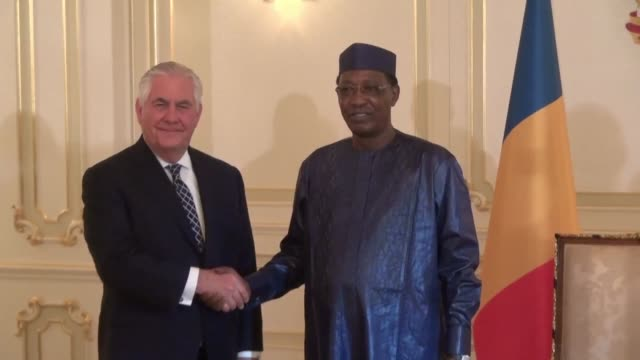 US Secretary of State Rex Tillerson meets Chadian President Idriss Deby as he shortens his maiden tour of Africa