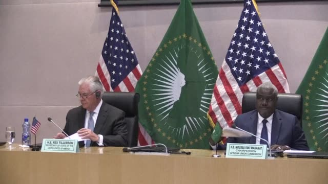 US Secretary of State Rex Tillerson meets with the Chairperson of the African Union Commission Moussa Faki Mahamat in Addis Ababa the first stop of...