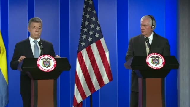 US Secretary of State Rex Tillerson offers a joint press conference with Colombian president Juan Manuel Santos in Bogota on Tuesday as the top US...