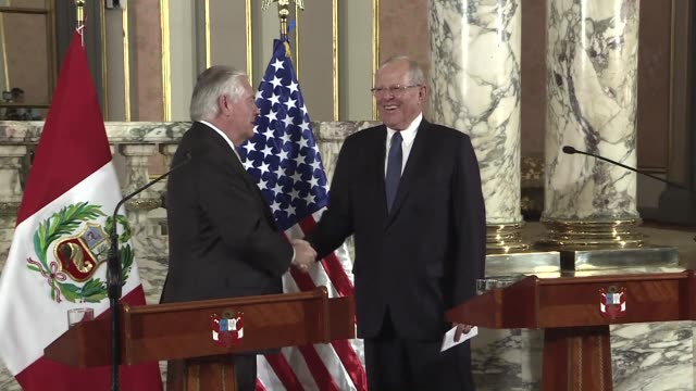 us secretary of state rex tillerson on a visit to lima tuesday said he spoke to peruvian president pedro pablo kuczynski about their joint... - trafficking stock videos and b-roll footage