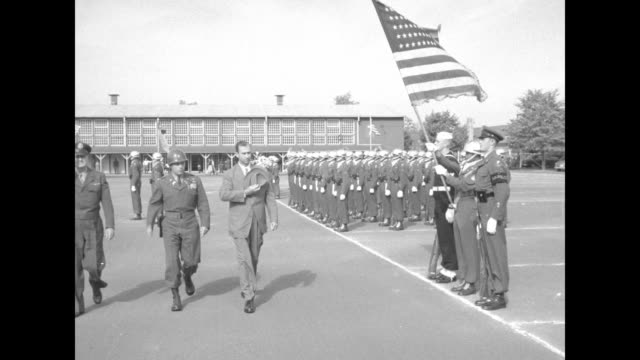stockvideo's en b-roll-footage met us secretary of the army frank pace wearing fedora reviews troops at campbell barracks headquarters of the us army in europe with two officers... - margaret truman