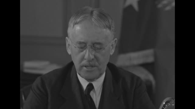 """secretary of war henry stimson reads statement while seated at desk, sot / sots re us navy: """"we call it our first line of defense""""; if the navy can... - weaponry stock videos & royalty-free footage"""