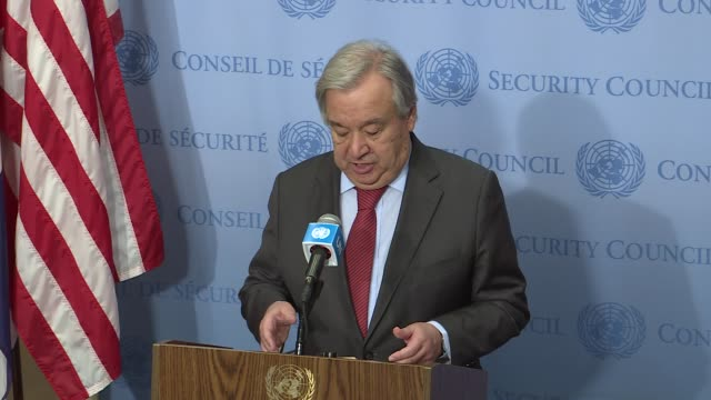 secretary-general antonio guterres held a press conference, where he said he was watching with great concern the geopolitical tension, as well as... - press conference stock-videos und b-roll-filmmaterial