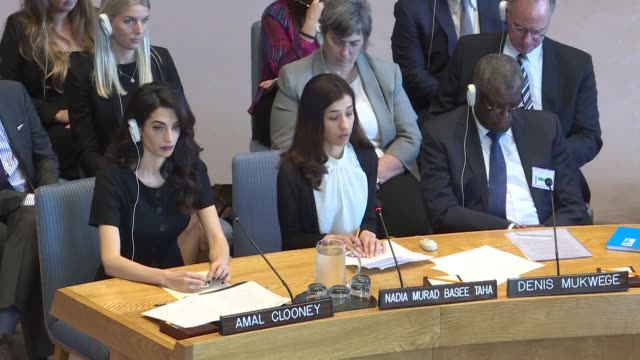 vidéos et rushes de secretary-general antonio guterres, iraqi yazidi human rights activist nadia murad basee taha and lebanese-british human-rights lawyer amal clooney... - avocat juriste
