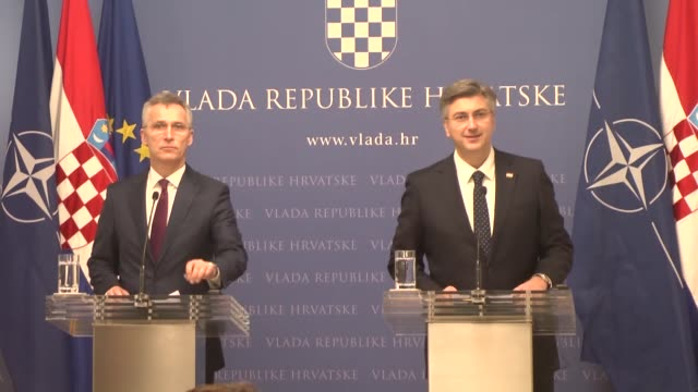 stockvideo's en b-roll-footage met secretarygeneral jens stoltenberg and croatian prime minister andrej plenkovic hold a joint news conference following their meeting in zagreb croatia... - kroatië