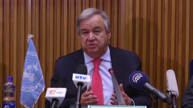 secretary-general of the united nations antonio guterres and african union commission chairperson moussa faki mahamat speak during a joint press... - chairperson stock videos & royalty-free footage