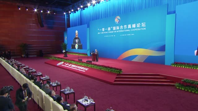 SecretaryGeneral of the United Nations Antonio Guterres delivers a speech during the opening ceremony of the Belt and Road Forum for International...
