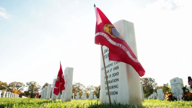 vídeos de stock e filmes b-roll de section 60 where most of the members of the us military who have died during the iraq and afghanistan wars are buried at arlington national cemetery... - cemitério nacional de arlington