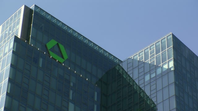 cu la section of dresdner bank building with green logo / frankfurt, hessen, germany - dresdner bank stock videos and b-roll footage