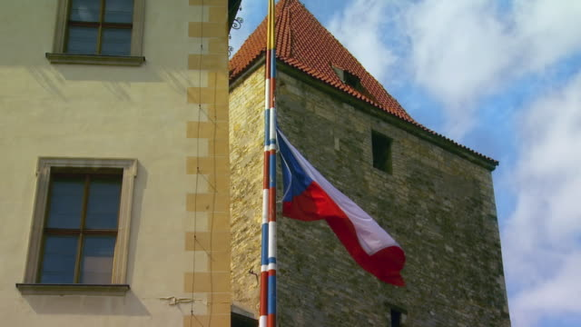 ms la section of hradcany castle with czech flag / prague, czech republic - hradcany castle stock videos and b-roll footage