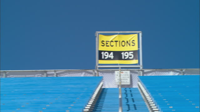 la ws pan section signs above rows of empty bleachers at homestead-miami speedway / homestead, fl, usa - miami dade county stock videos and b-roll footage