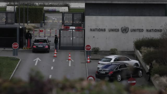 security agents at the palais des nations entrance united nations office in geneva on february 18 2020 in geneva switzerland - base stock videos & royalty-free footage