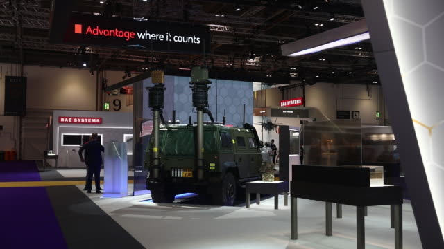 security and weapons companies gather at defence and security equipment international exhibition in excel london london uk on thursday september 12... - torpedo stock videos & royalty-free footage
