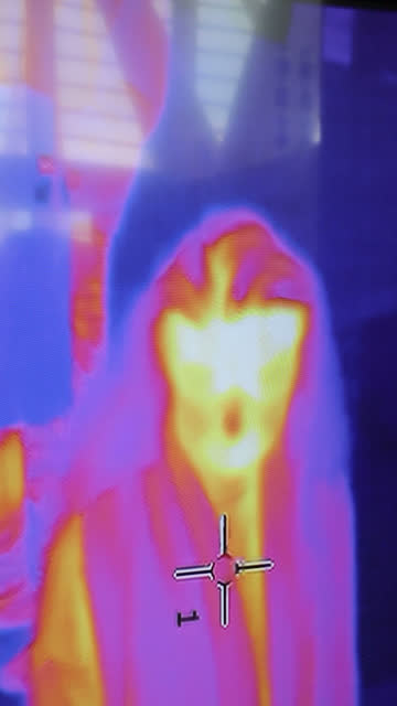 security at the station thermal camera - vertical - stock video - thermal imaging stock videos & royalty-free footage