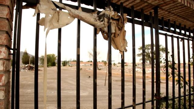 cu security bars of broken building/ ciudad juárez/ mexico - security bar stock videos and b-roll footage