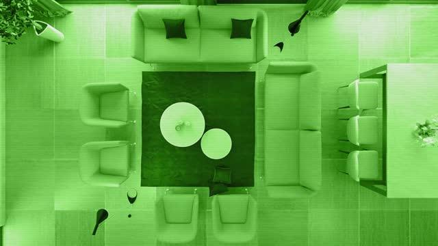 säkerhet cam nattseende av modern minimalistisk lägenhet interiör. vardagsrum med kök och matsal - liquid crystal display bildbanksvideor och videomaterial från bakom kulisserna