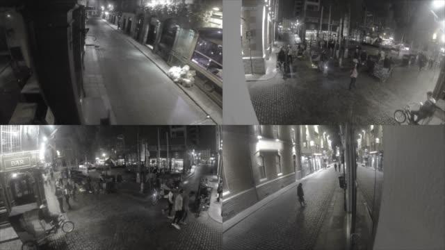 cctv security camera footage - telecamera di sorveglianza video stock e b–roll