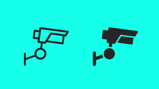 security camera icons - vector animate - webcam stock videos & royalty-free footage