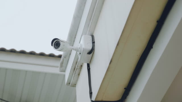 security camera mounted on a white ceiling