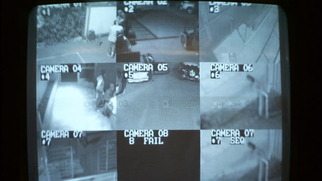 vidéos et rushes de cu zi security camera showing people walking in office building / los angeles, california, usa - caméra de surveillance