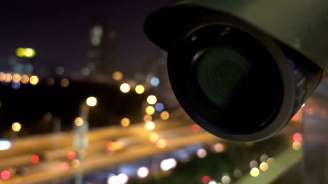 security cctv camera monitoring view of city night - security staff stock videos & royalty-free footage