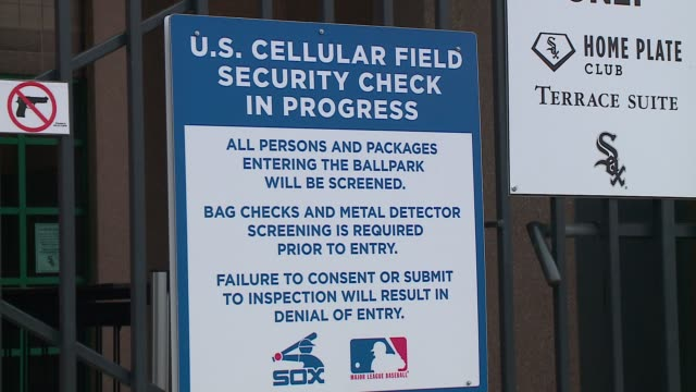 WGN Security Check Sign at US Cellular Field during the White Sox Opening Day in Chicago on April 8 2016